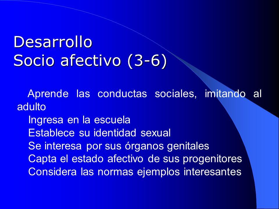 Desarrollo Socio afectivo (3-6) Aprende las conductas sociales, imitando al adulto Ingresa en la escuela Establece su identidad sexual Se interesa por
