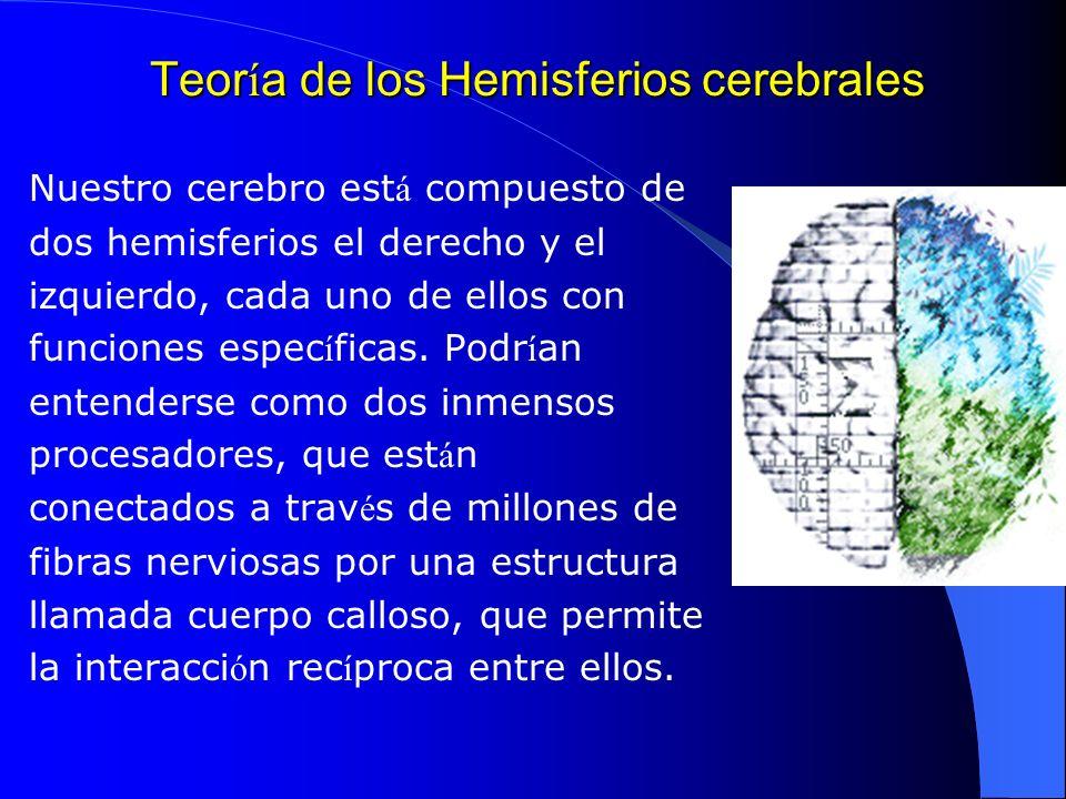 Teor í a de los Hemisferios cerebrales Nuestro cerebro est á compuesto de dos hemisferios el derecho y el izquierdo, cada uno de ellos con funciones e