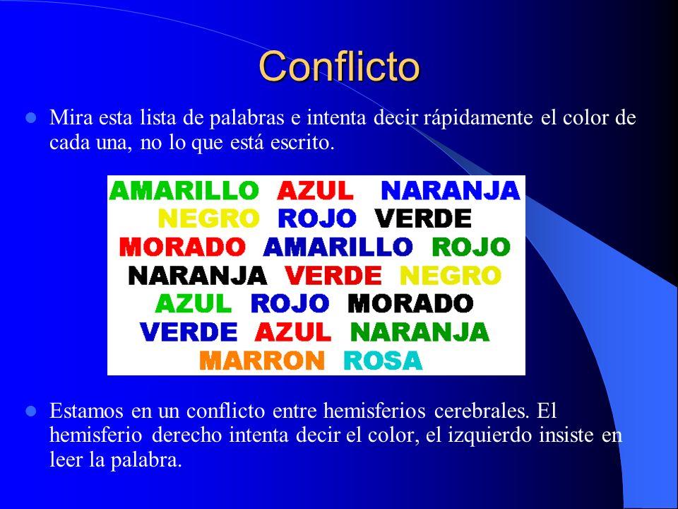 Conflicto Mira esta lista de palabras e intenta decir rápidamente el color de cada una, no lo que está escrito. Estamos en un conflicto entre hemisfer