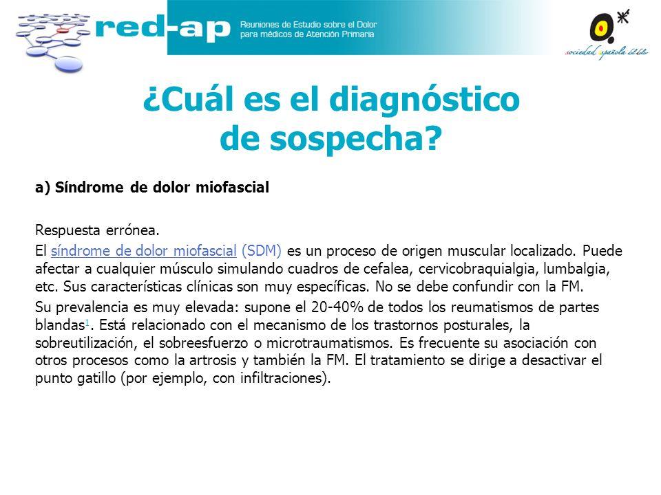 a) Síndrome de dolor miofascial Respuesta errónea. El síndrome de dolor miofascial (SDM) es un proceso de origen muscular localizado. Puede afectar a