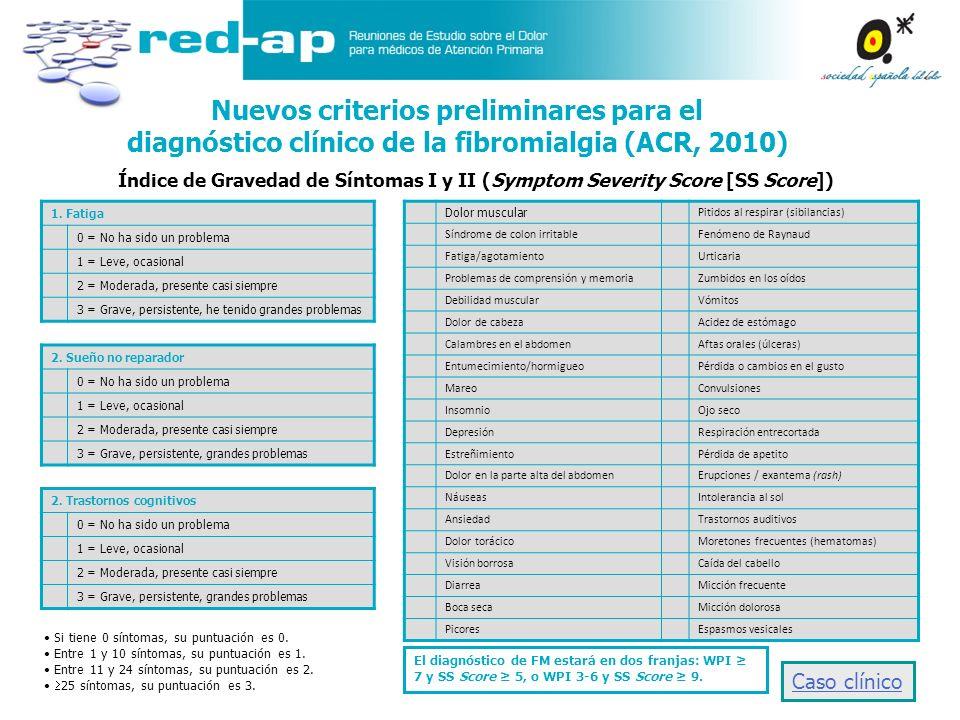 Índice de Gravedad de Síntomas I y II (Symptom Severity Score [SS Score]) Nuevos criterios preliminares para el diagnóstico clínico de la fibromialgia