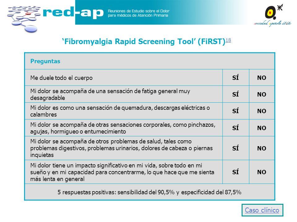 Fibromyalgia Rapid Screening Tool (FiRST) 18 18 Preguntas Me duele todo el cuerpoSÍNO Mi dolor se acompaña de una sensación de fatiga general muy desa
