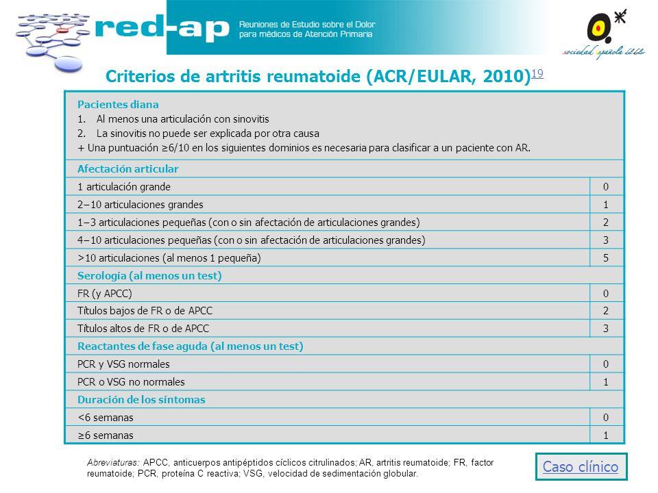 Criterios de artritis reumatoide (ACR/EULAR, 2010) 19 19 Pacientes diana 1.Al menos una articulación con sinovitis 2.La sinovitis no puede ser explica