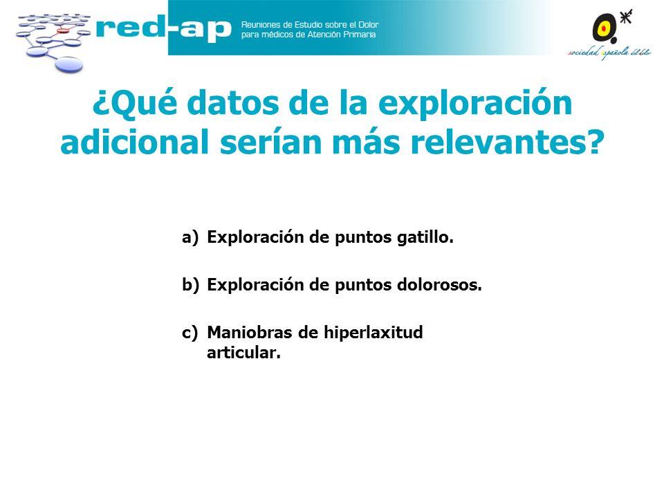 a)Exploración de puntos gatillo. b)Exploración de puntos dolorosos. c)Maniobras de hiperlaxitud articular. ¿Qué datos de la exploración adicional serí
