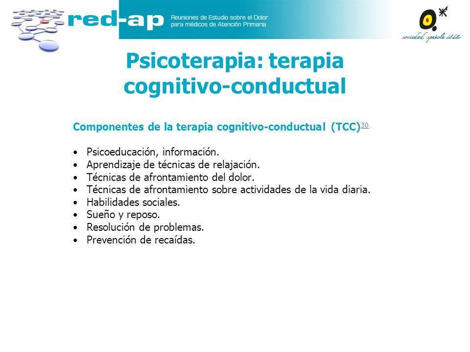 Psicoterapia: terapia cognitivo-conductual Componentes de la terapia cognitivo-conductual (TCC) 30 30 Psicoeducación, información. Aprendizaje de técn