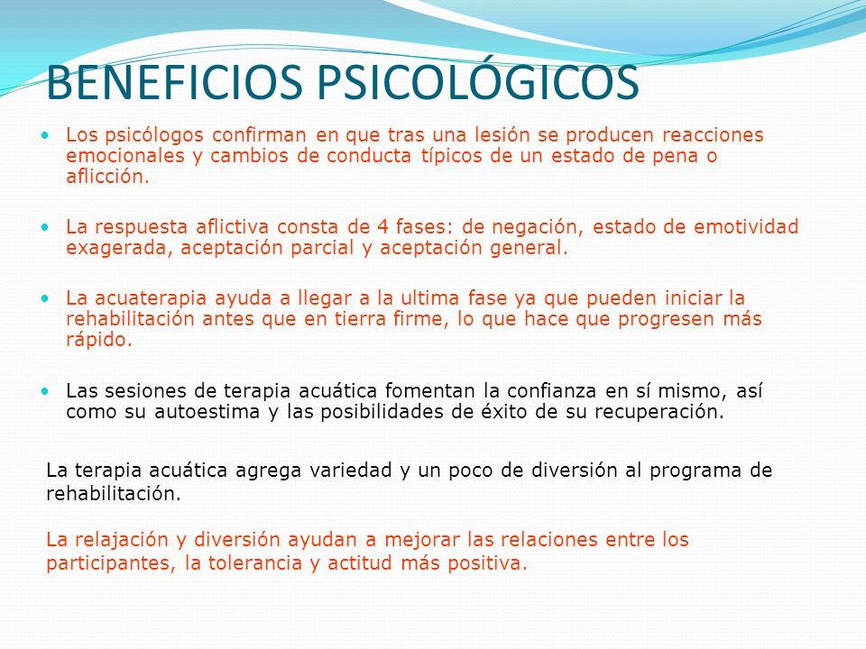 BENEFICIOS PSICOLÓGICOS Los psicólogos confirman en que tras una lesión se producen reacciones emocionales y cambios de conducta típicos de un estado de pena o aflicción.