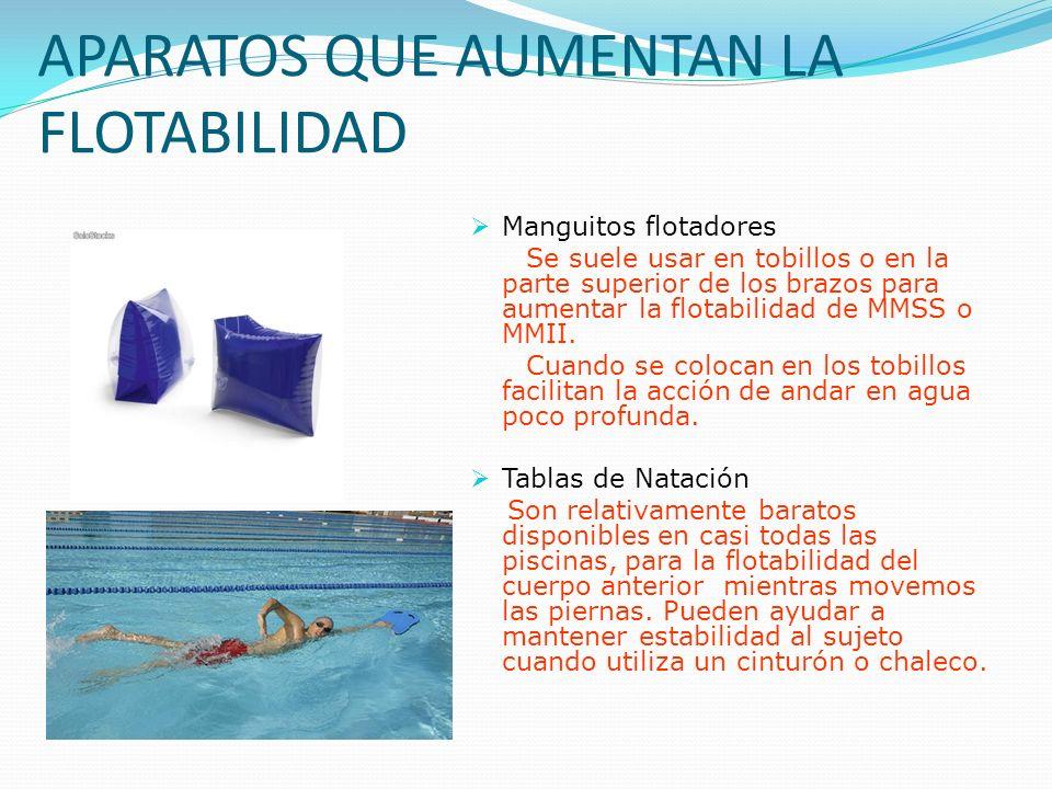 APARATOS QUE AUMENTAN LA FLOTABILIDAD Manguitos flotadores Se suele usar en tobillos o en la parte superior de los brazos para aumentar la flotabilidad de MMSS o MMII.