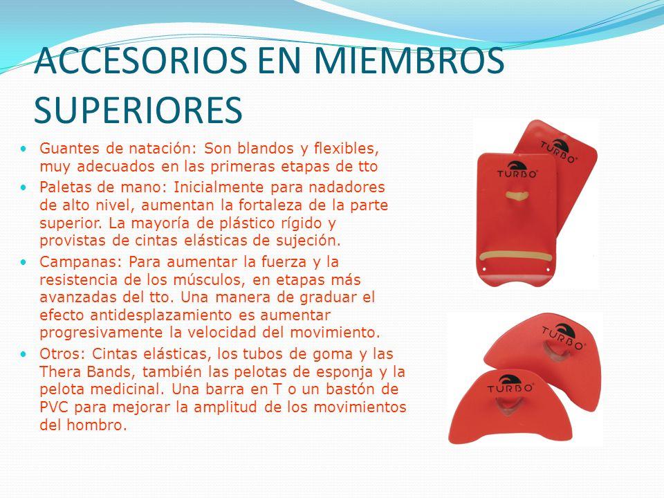 ACCESORIOS EN MIEMBROS SUPERIORES Guantes de natación: Son blandos y flexibles, muy adecuados en las primeras etapas de tto Paletas de mano: Inicialmente para nadadores de alto nivel, aumentan la fortaleza de la parte superior.