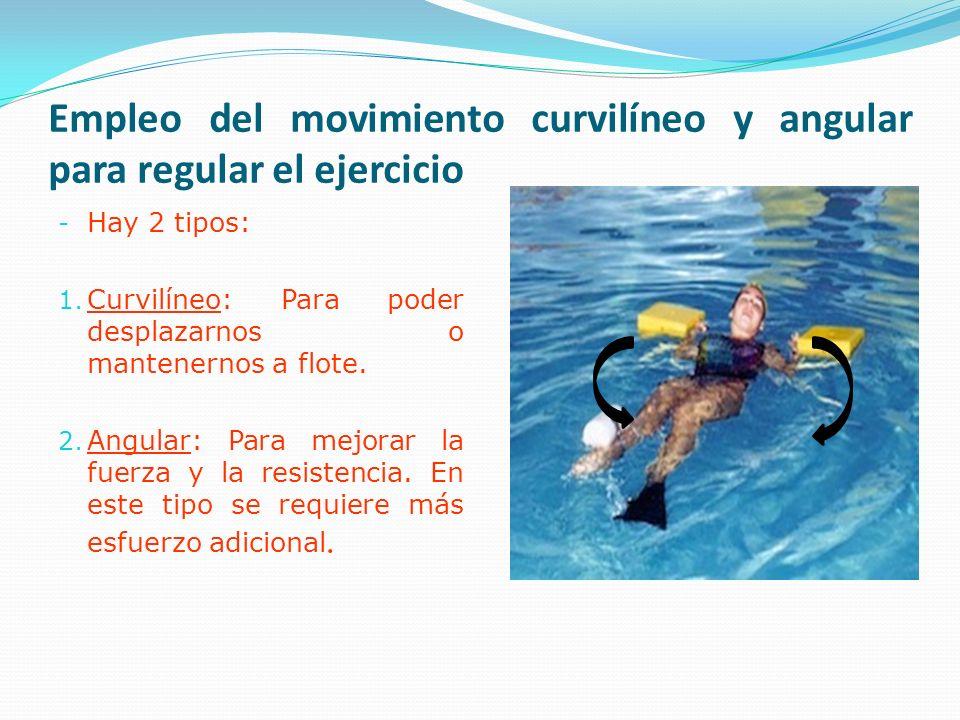 Empleo del movimiento curvilíneo y angular para regular el ejercicio - Hay 2 tipos: 1.