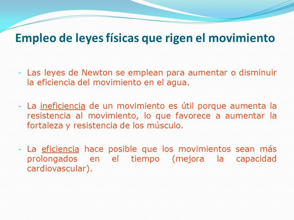 Empleo de leyes físicas que rigen el movimiento - Las leyes de Newton se emplean para aumentar o disminuir la eficiencia del movimiento en el agua.