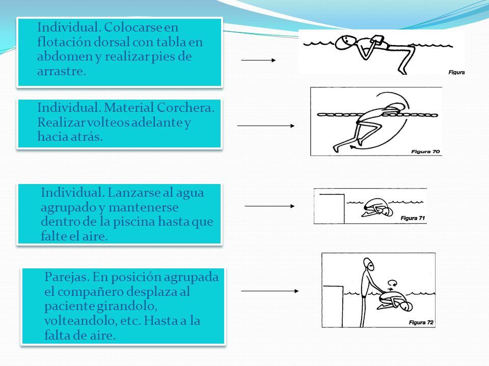 Individual.Colocarse en flotación dorsal con tabla en abdomen y realizar pies de arrastre.