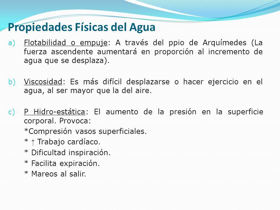 Propiedades Físicas del Agua a) Flotabilidad o empuje: A través del ppio de Arquímedes (La fuerza ascendente aumentará en proporción al incremento de agua que se desplaza).