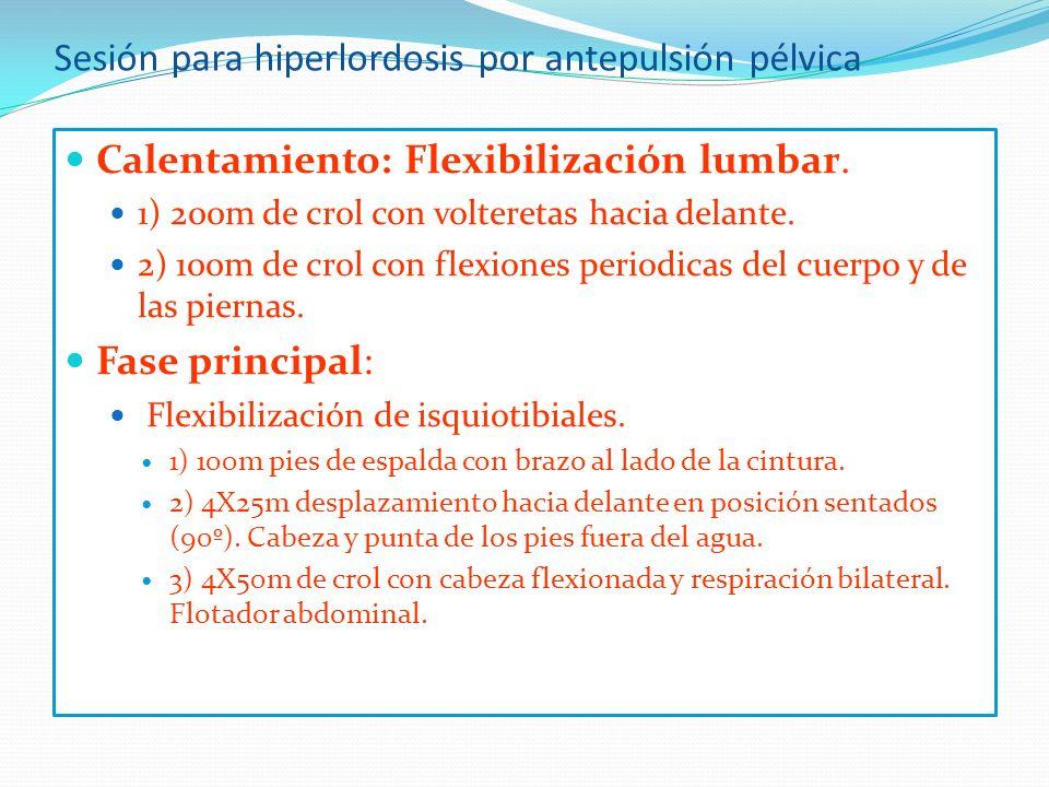 Sesión para hiperlordosis por antepulsión pélvica Calentamiento: Flexibilización lumbar.