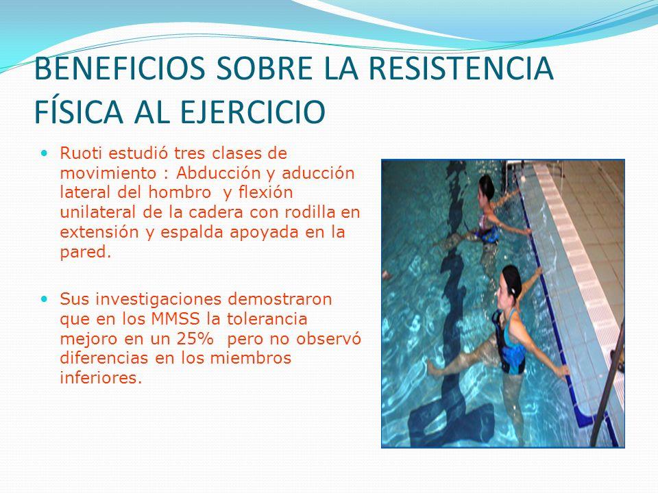 BENEFICIOS SOBRE LA RESISTENCIA FÍSICA AL EJERCICIO Ruoti estudió tres clases de movimiento : Abducción y aducción lateral del hombro y flexión unilateral de la cadera con rodilla en extensión y espalda apoyada en la pared.