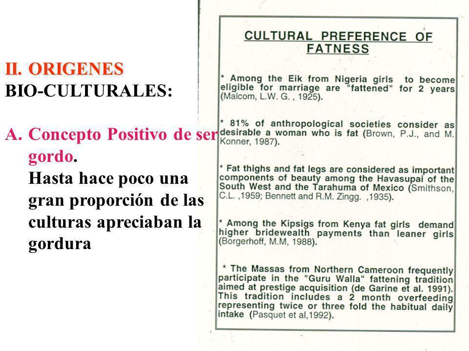 II.ORIGENES BIO-CULTURALES: A.Concepto Positivo de ser gordo.
