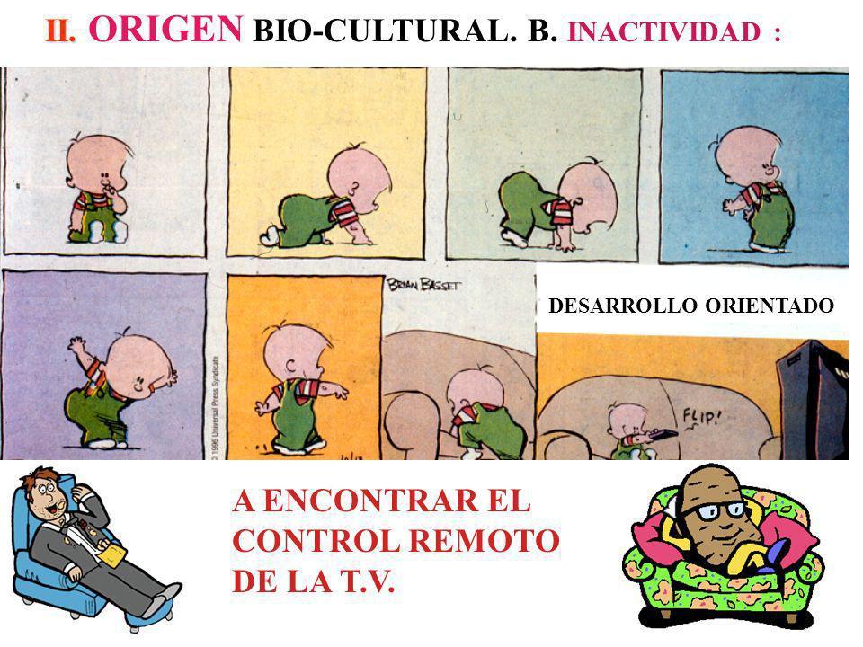 II.II. ORIGEN BIO-CULTURAL. B. INACTIVIDAD : A ENCONTRAR EL CONTROL REMOTO DE LA T.V.