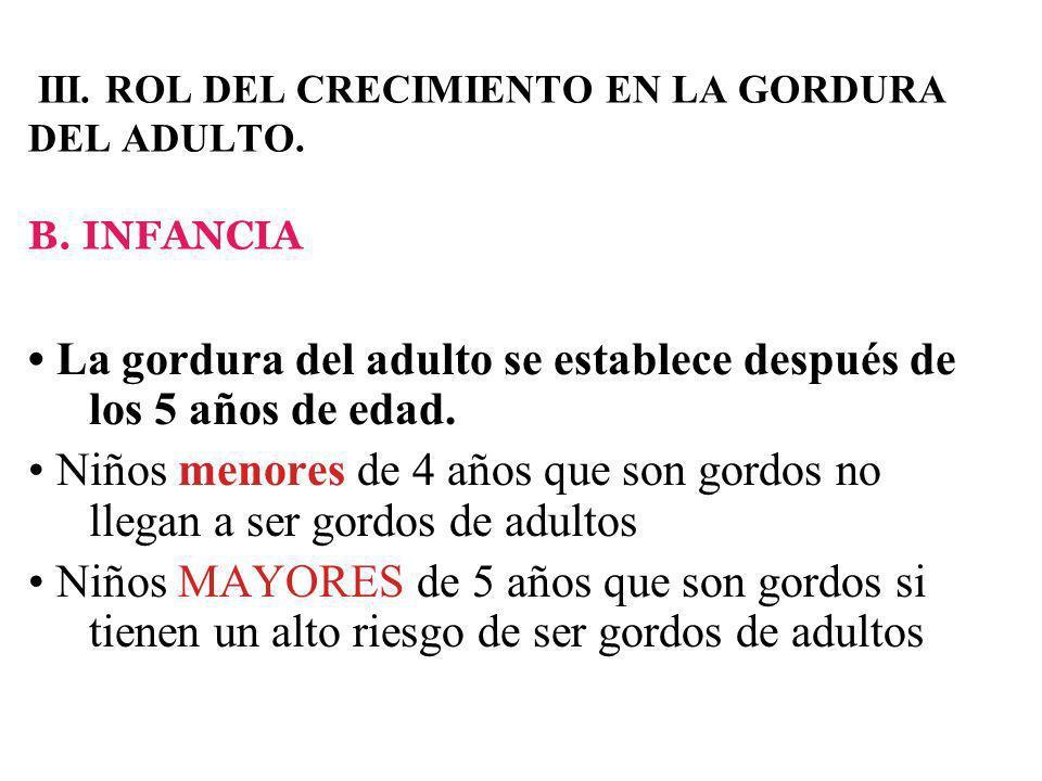 III.ROL DEL CRECIMIENTO EN LA GORDURA DEL ADULTO.
