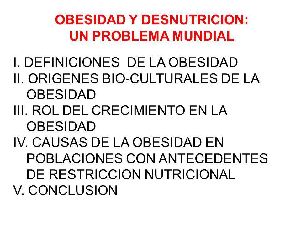 I.DEFINICIONES DE LA OBESIDAD II. ORIGENES BIO-CULTURALES DE LA OBESIDAD III.