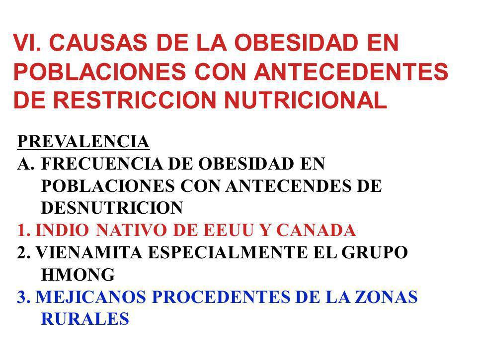 VI. CAUSAS DE LA OBESIDAD EN POBLACIONES CON ANTECEDENTES DE RESTRICCION NUTRICIONAL A.FRECUENCIA DE OBESIDAD EN POBLACIONES CON ANTECENDES DE DESNUTR