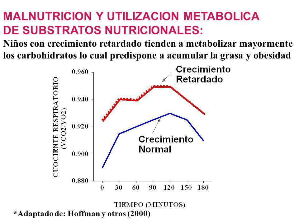 MALNUTRICION Y UTILIZACION METABOLICA DE SUBSTRATOS NUTRICIONALES: Niños con crecimiento retardado tienden a metabolizar mayormente los carbohidratos lo cual predispone a acumular la grasa y obesidad *Adaptado de: Hoffman y otros (2000)