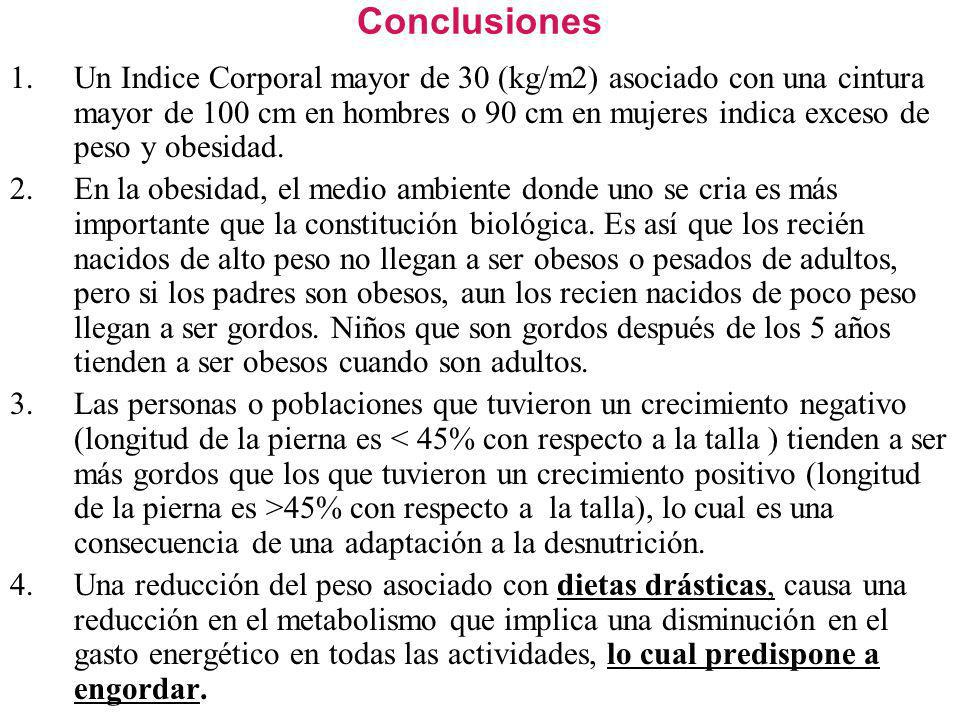 Conclusiones 1.Un Indice Corporal mayor de 30 (kg/m2) asociado con una cintura mayor de 100 cm en hombres o 90 cm en mujeres indica exceso de peso y obesidad.