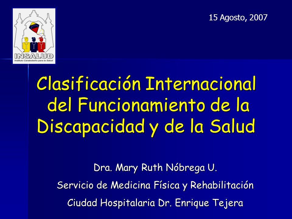 Clasificación Internacional del Funcionamiento de la Discapacidad y de la Salud Dra.