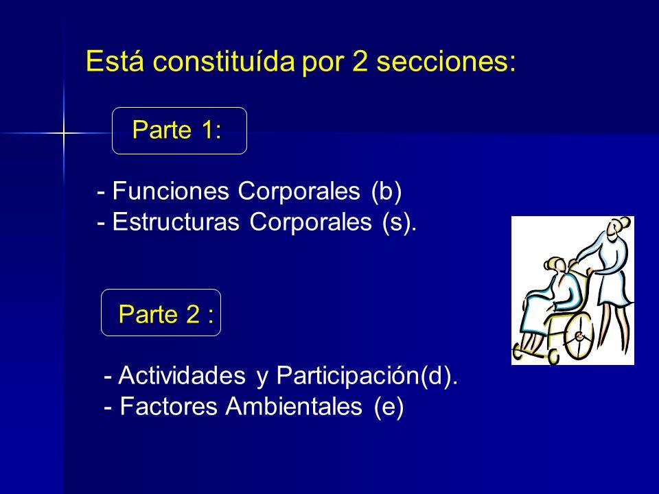 Está constituída por 2 secciones: Parte 1: - Funciones Corporales (b) - Estructuras Corporales (s).
