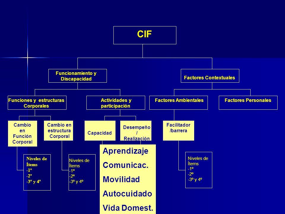 CIF Funciones y estructuras Corporales Funcionamiento y Discapacidad Actividades y participación Factores Contextuales Factores AmbientalesFactores Personales Cambio en Función Corporal Cambio en estructura Corporal Capacidad Desempeño / Realización Facilitador /barrera Niveles de Ítems -1º -2º -3º y 4º Aprendizaje Comunicac.
