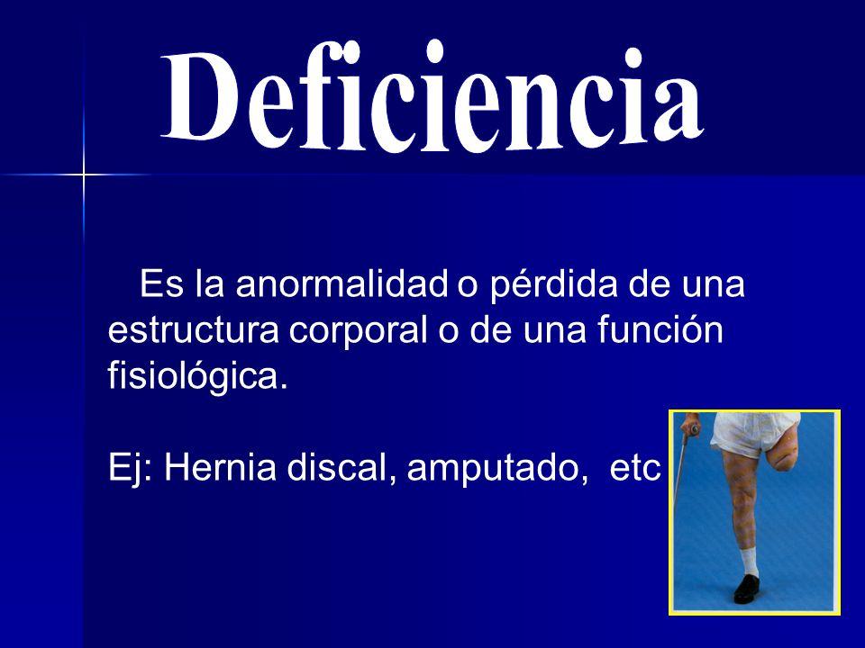 Es la anormalidad o pérdida de una estructura corporal o de una función fisiológica.
