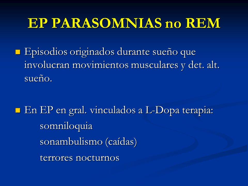 EP PARASOMNIAS no REM Episodios originados durante sueño que involucran movimientos musculares y det. alt. sueño. Episodios originados durante sueño q