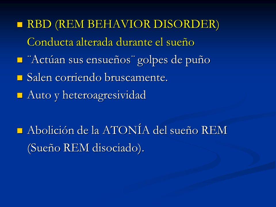 RBD (REM BEHAVIOR DISORDER) RBD (REM BEHAVIOR DISORDER) Conducta alterada durante el sueño ¨Actúan sus ensueños¨ golpes de puño ¨Actúan sus ensueños¨