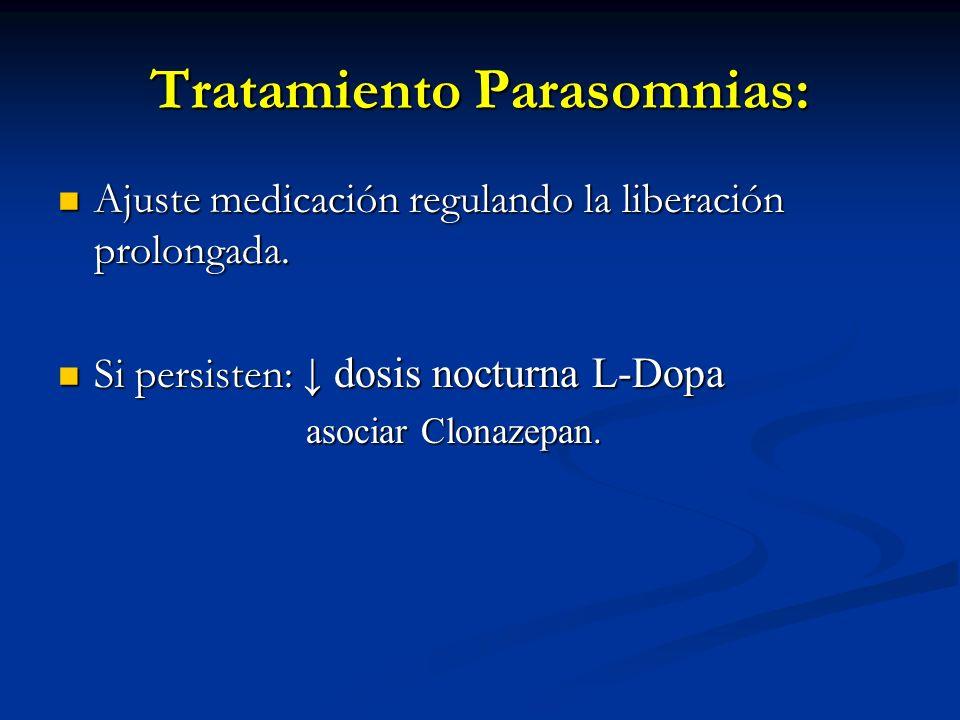 Tratamiento Parasomnias: Ajuste medicación regulando la liberación prolongada. Ajuste medicación regulando la liberación prolongada. Si persisten: dos