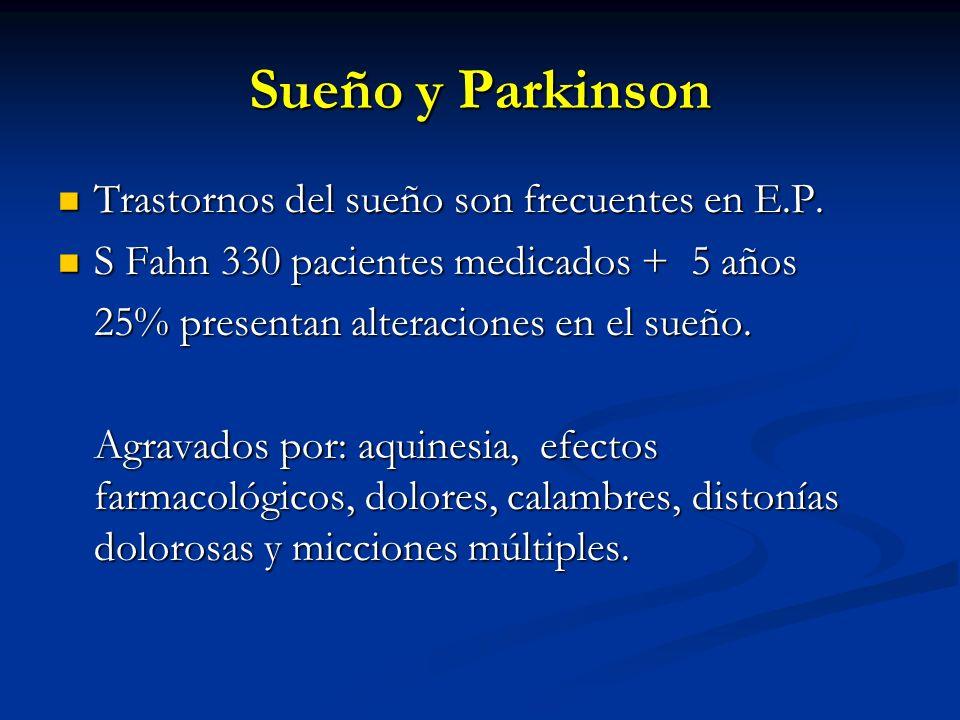 Sueño y Parkinson Trastornos del sueño son frecuentes en E.P. Trastornos del sueño son frecuentes en E.P. S Fahn 330 pacientes medicados + 5 años S Fa