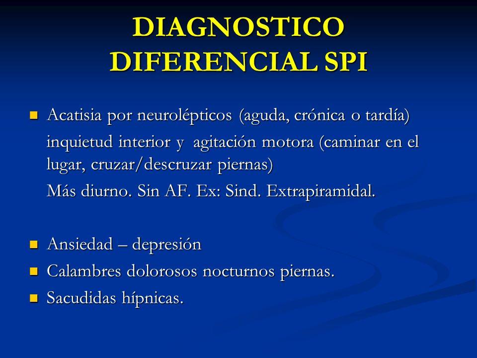 DIAGNOSTICO DIFERENCIAL SPI Acatisia por neurolépticos (aguda, crónica o tardía) Acatisia por neurolépticos (aguda, crónica o tardía) inquietud interi