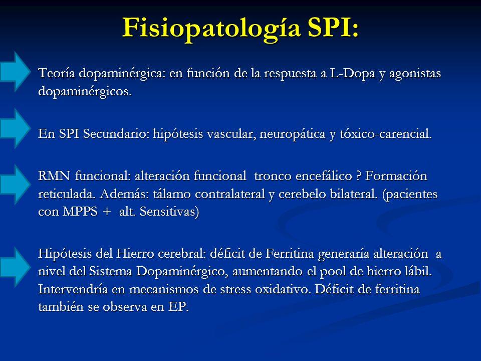 Teoría dopaminérgica: en función de la respuesta a L-Dopa y agonistas dopaminérgicos. En SPI Secundario: hipótesis vascular, neuropática y tóxico-care