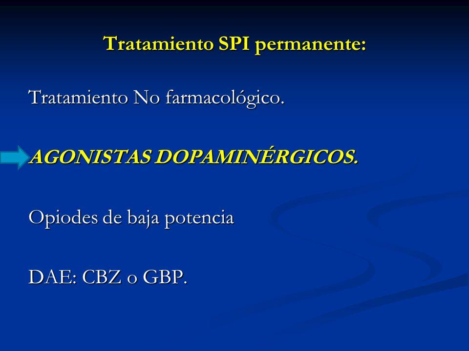 Tratamiento SPI permanente: Tratamiento No farmacológico. AGONISTAS DOPAMINÉRGICOS. Opiodes de baja potencia DAE: CBZ o GBP.