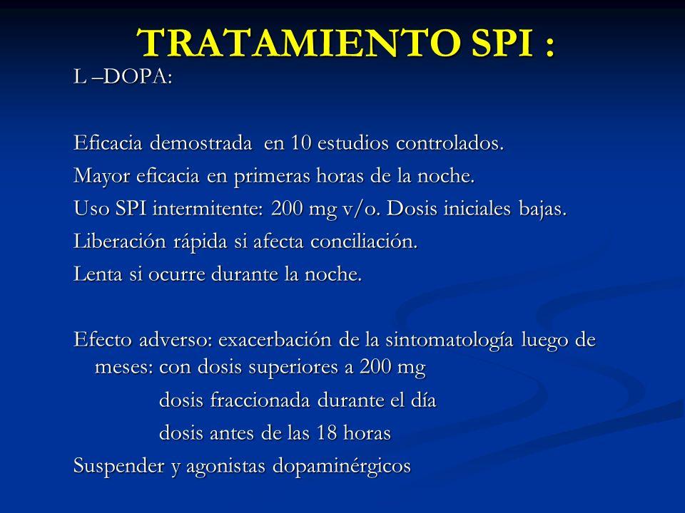 TRATAMIENTO SPI : L –DOPA: Eficacia demostrada en 10 estudios controlados.