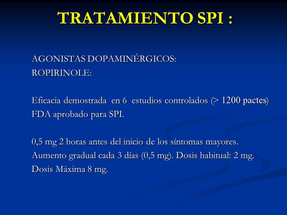 TRATAMIENTO SPI : AGONISTAS DOPAMINÉRGICOS: ROPIRINOLE: Eficacia demostrada en 6 estudios controlados ( > 1200 pactes ) FDA aprobado para SPI. 0,5 mg