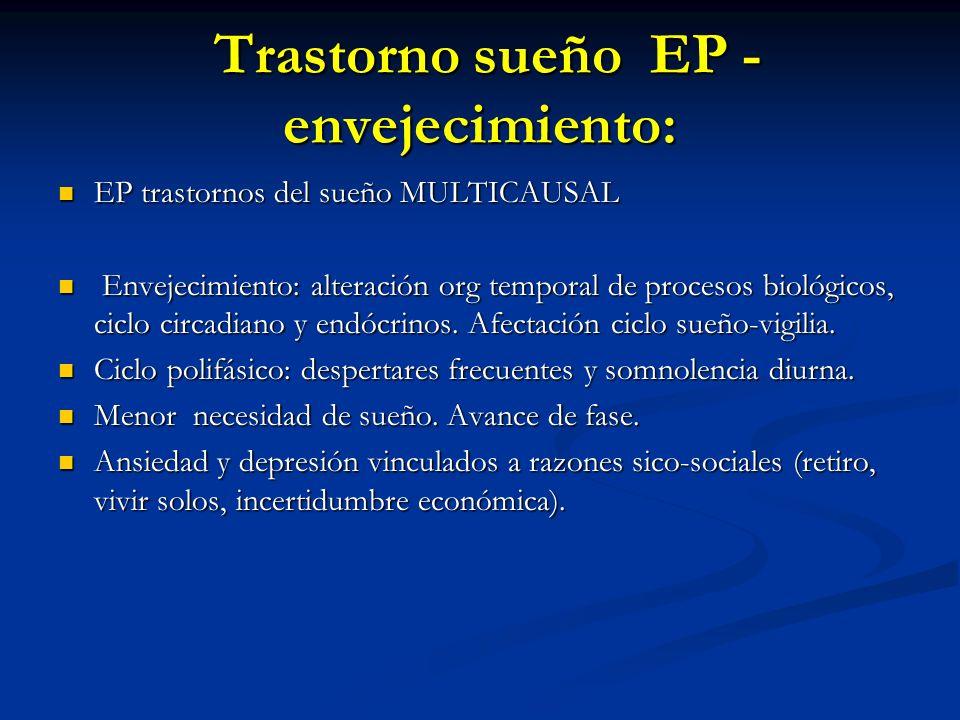 Trastorno sueño EP - envejecimiento: Trastorno sueño EP - envejecimiento: EP trastornos del sueño MULTICAUSAL EP trastornos del sueño MULTICAUSAL Envejecimiento: alteración org temporal de procesos biológicos, ciclo circadiano y endócrinos.