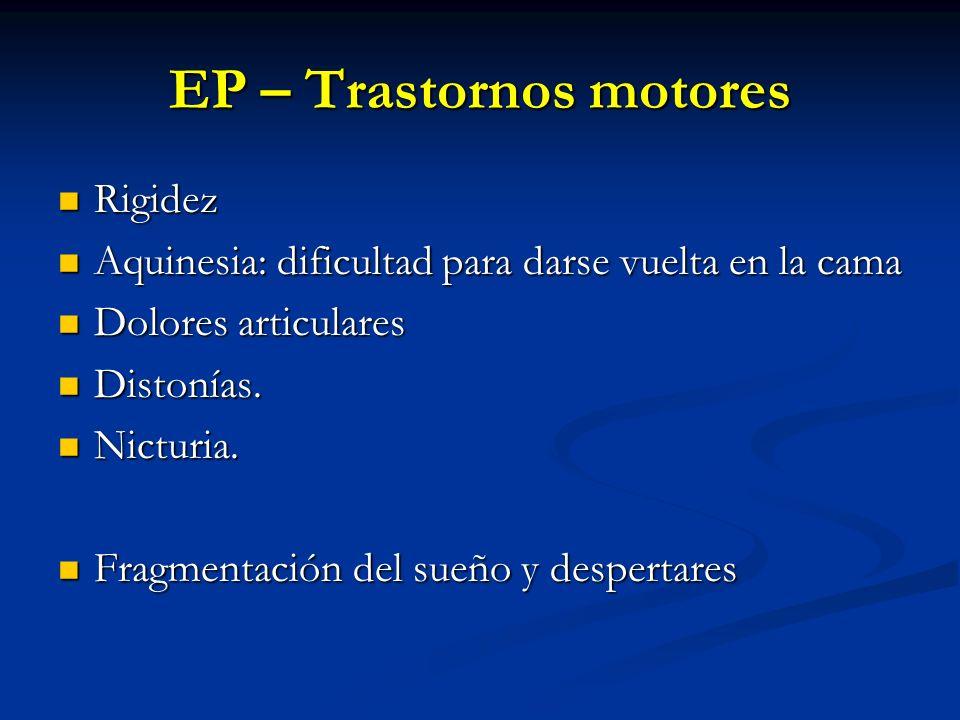 EP – Trastornos motores Rigidez Rigidez Aquinesia: dificultad para darse vuelta en la cama Aquinesia: dificultad para darse vuelta en la cama Dolores