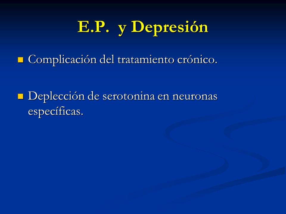 E.P. y Depresión Complicación del tratamiento crónico. Complicación del tratamiento crónico. Deplección de serotonina en neuronas específicas. Deplecc