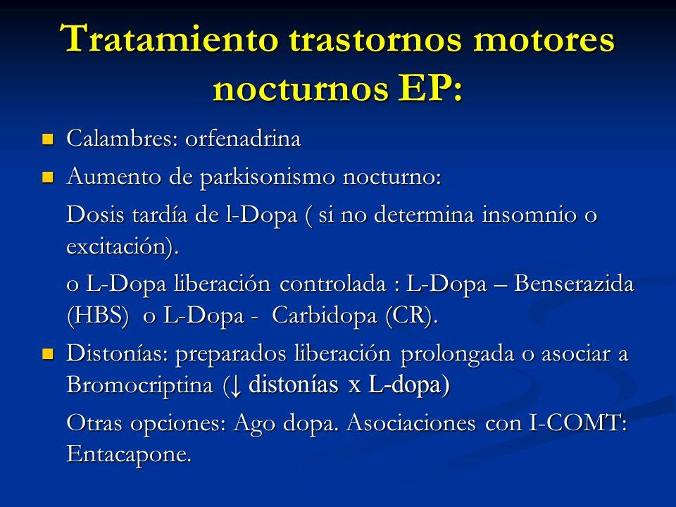 Tratamiento trastornos motores nocturnos EP: Calambres: orfenadrina Calambres: orfenadrina Aumento de parkisonismo nocturno: Aumento de parkisonismo n