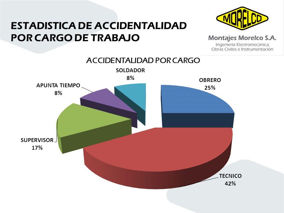 ESTADISTICA DE ACCIDENTALIDAD POR CARGO DE TRABAJO