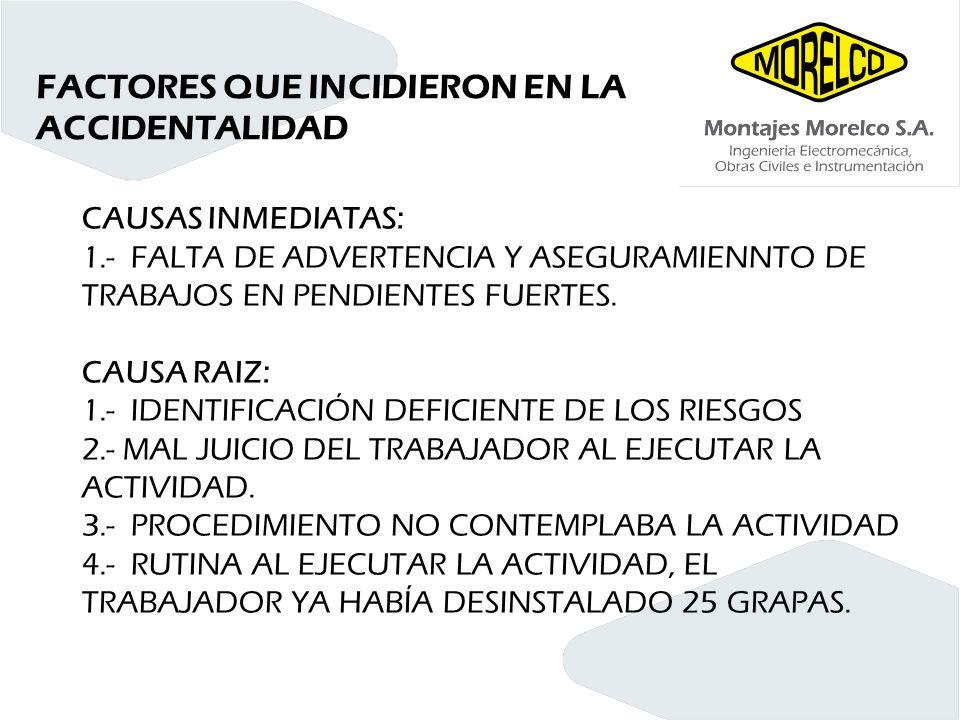 FACTORES QUE INCIDIERON EN LA ACCIDENTALIDAD CAUSAS INMEDIATAS: 1.- FALTA DE ADVERTENCIA Y ASEGURAMIENNTO DE TRABAJOS EN PENDIENTES FUERTES. CAUSA RAI