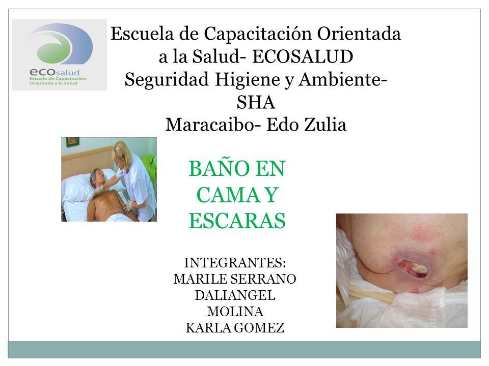 Escuela de Capacitación Orientada a la Salud- ECOSALUD Seguridad Higiene y Ambiente- SHA Maracaibo- Edo Zulia BAÑO EN CAMA Y ESCARAS INTEGRANTES: MARILE SERRANO DALIANGEL MOLINA KARLA GOMEZ
