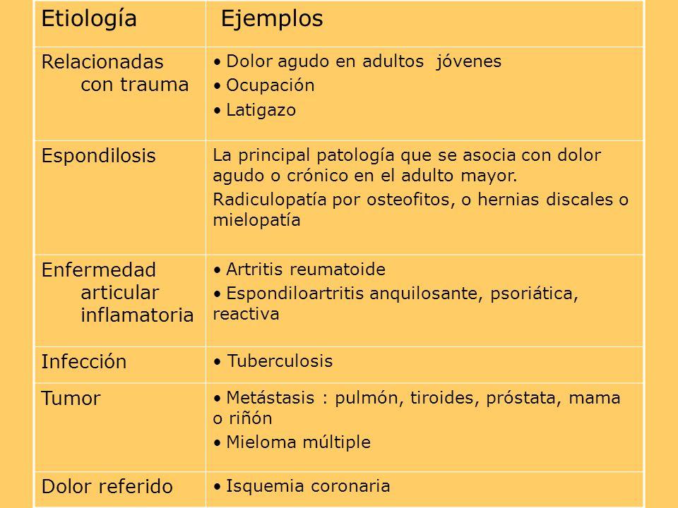 Etiología Ejemplos Relacionadas con trauma Dolor agudo en adultos jóvenes Ocupación Latigazo Espondilosis La principal patología que se asocia con dolor agudo o crónico en el adulto mayor.