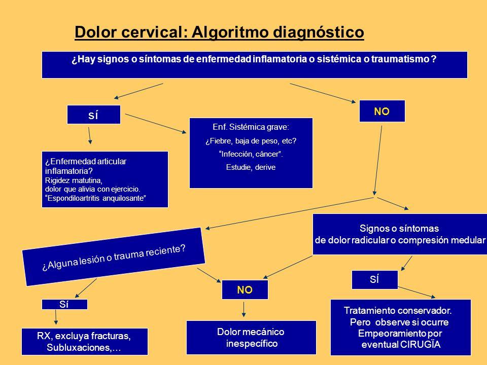 Dolor cervical: Algoritmo diagnóstico ¿Enfermedad articular inflamatoria.