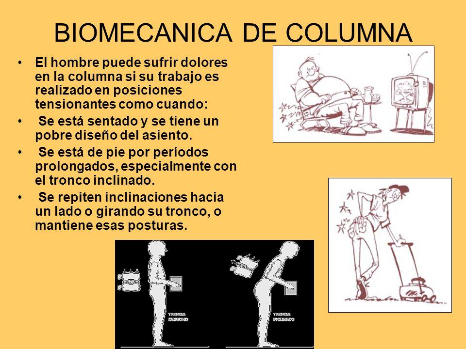 BIOMECANICA DE COLUMNA El hombre puede sufrir dolores en la columna si su trabajo es realizado en posiciones tensionantes como cuando: Se está sentado y se tiene un pobre diseño del asiento.