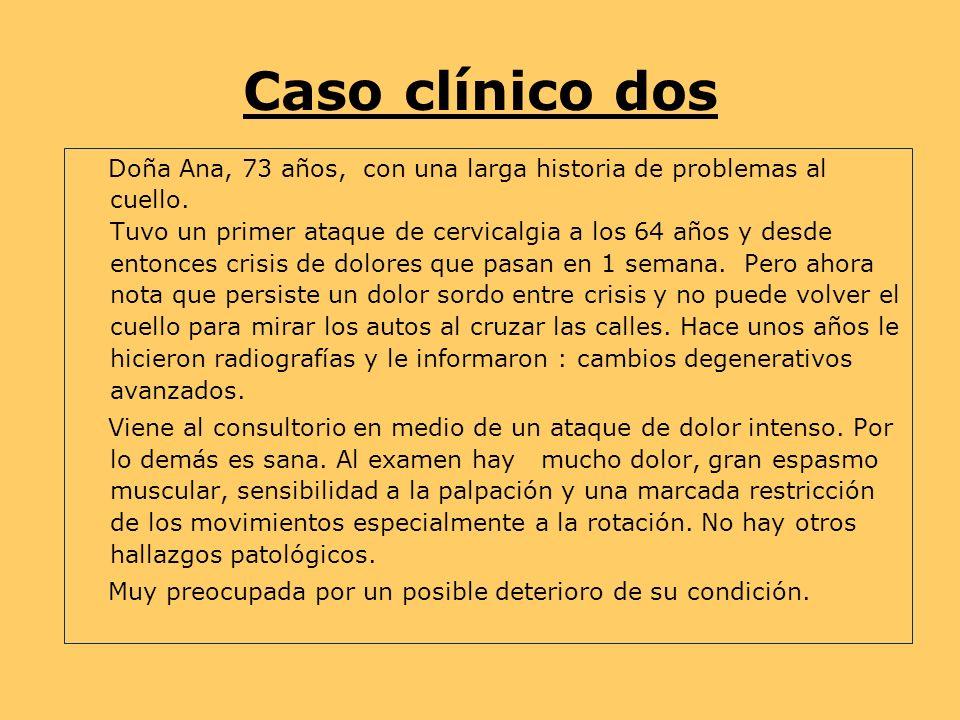 Caso clínico dos Doña Ana, 73 años, con una larga historia de problemas al cuello.