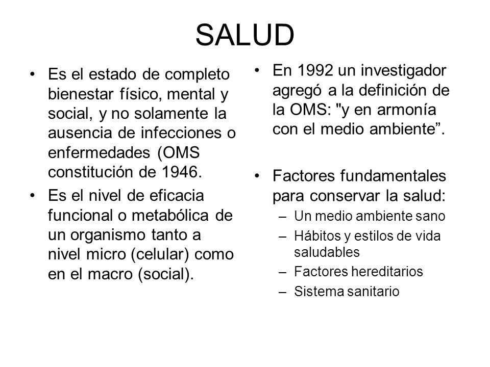 SALUD Es el estado de completo bienestar físico, mental y social, y no solamente la ausencia de infecciones o enfermedades (OMS constitución de 1946.
